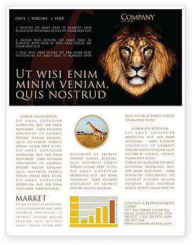 Lion With Red Mane Newsletter Template, 03428, Agriculture and Animals — PoweredTemplate.com