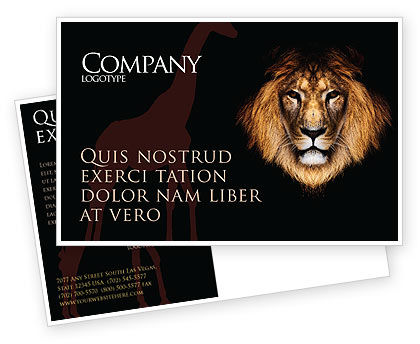 Nature & Environment: Lion With Red Mane Postcard Template #03428