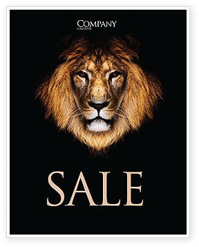 Nature & Environment: Lion With Red Mane Sale Poster Template #03428