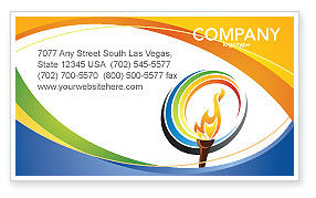 Sports: Olympic Fire Business Card Template #03430