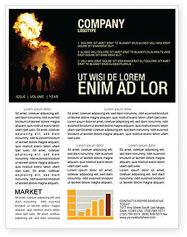 Fire Brigade Newsletter Template, 03434, Careers/Industry — PoweredTemplate.com