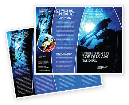 Diving Brochure Template, 03439, Sports — PoweredTemplate.com