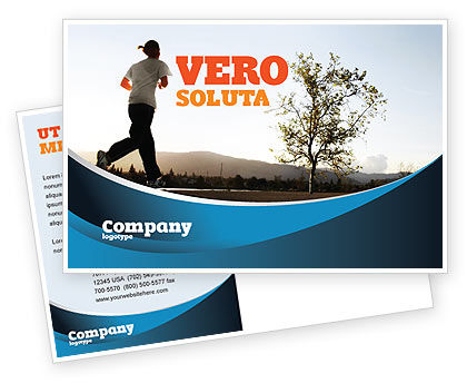 Sports: Morning Jogging Postcard Template #03440