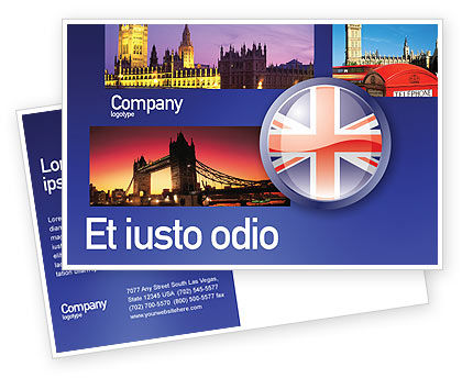 Flags/International: United Kingdom Postcard Template #03448