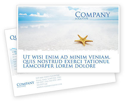 Starfish Postcard Template, 03456, Nature & Environment — PoweredTemplate.com