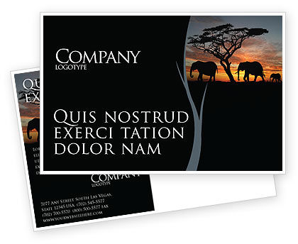 Nature & Environment: Savanna Postcard Template #03506