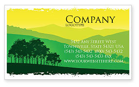 Mountain Landscape Business Card Template, 03509, Nature & Environment — PoweredTemplate.com