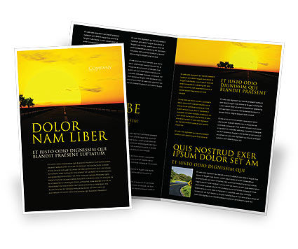 Sunset Highway Brochure Template, 03518, Construction — PoweredTemplate.com