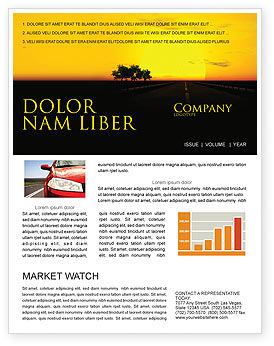 Sunset Highway Newsletter Template, 03518, Construction — PoweredTemplate.com