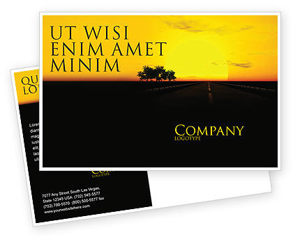 Construction: Sunset Highway Postcard Template #03518