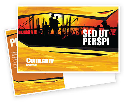 Construction: Builders Postcard Template #03530