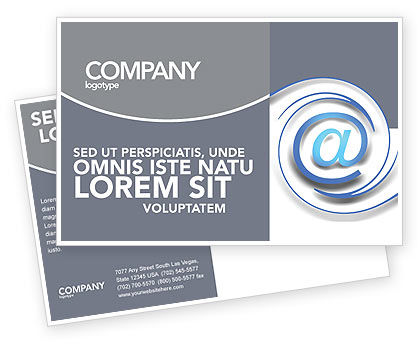 Technology, Science & Computers: Modern Communication Via Email Postcard Template #03532
