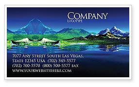 Nature & Environment: Mountain Lake Business Card Template #03534