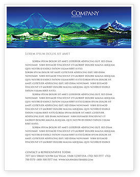 Nature & Environment: Mountain Lake Letterhead Template #03534