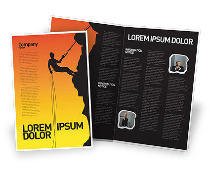 Silhouette Of Rock Climber Brochure Template