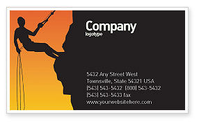 Silhouette Of Rock Climber Business Card Template, 03535, Consulting — PoweredTemplate.com