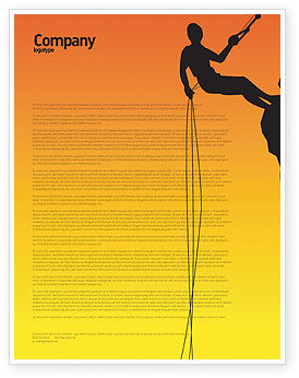 Silhouette Of Rock Climber Letterhead Template