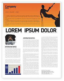 Silhouette Of Rock Climber Newsletter Template, 03535, Consulting — PoweredTemplate.com
