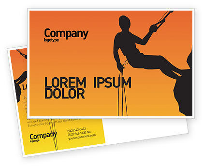 Silhouette Of Rock Climber Postcard Template, 03535, Consulting — PoweredTemplate.com