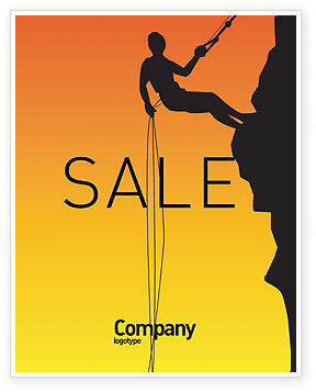 Silhouette Of Rock Climber Sale Poster Template, 03535, Consulting — PoweredTemplate.com