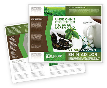 Green Tea Ceremony Brochure Template, 03551, Food & Beverage — PoweredTemplate.com
