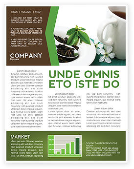 Green Tea Ceremony Newsletter Template, 03551, Food & Beverage — PoweredTemplate.com