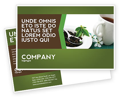 Green Tea Ceremony Postcard Template, 03551, Food & Beverage — PoweredTemplate.com
