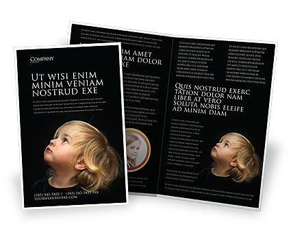 People: Child Listens Brochure Template #03553