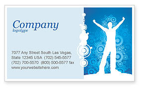 Creativity In Blue Business Card Template, 03561, Business Concepts — PoweredTemplate.com