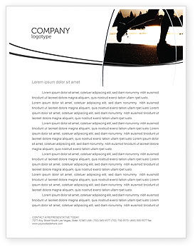 Sports: Jogging On The Bank Of The River Letterhead Template #03580