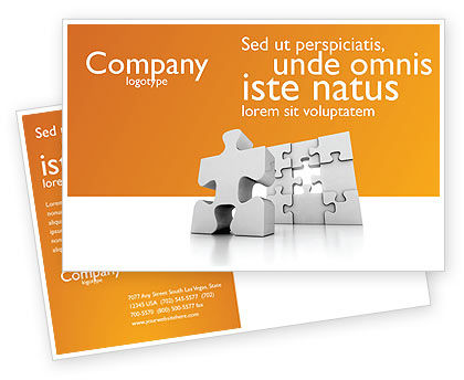 Business Concepts: Business Puzzle Postcard Template #03587