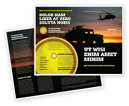 War Conflict Brochure Template, 03588, Military — PoweredTemplate.com