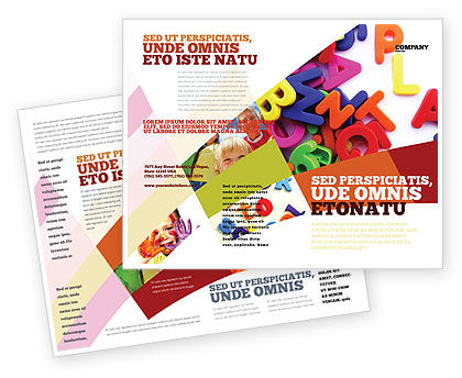 Word Play Brochure Template, 03592, Education & Training — PoweredTemplate.com