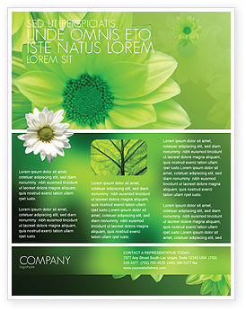 Abstract/Textures: Green Flowers Flyer Template #03594