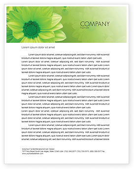 Green Flowers Letterhead Template, 03594, Abstract/Textures — PoweredTemplate.com