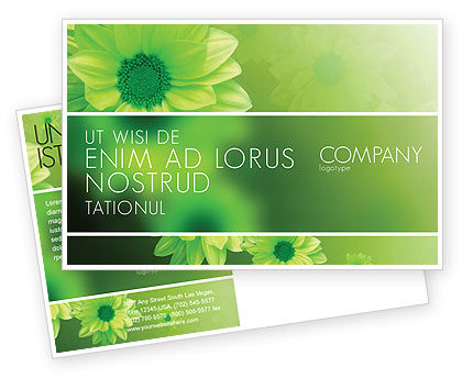 Green Flowers Postcard Template, 03594, Abstract/Textures — PoweredTemplate.com