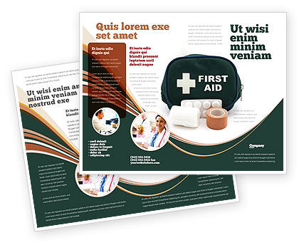 First Aid Set Brochure Template, 03596, Medical — PoweredTemplate.com