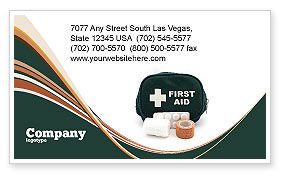Medical: First Aid Set Business Card Template #03596