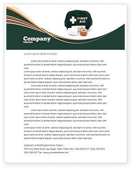 Medical: First Aid Set Letterhead Template #03596