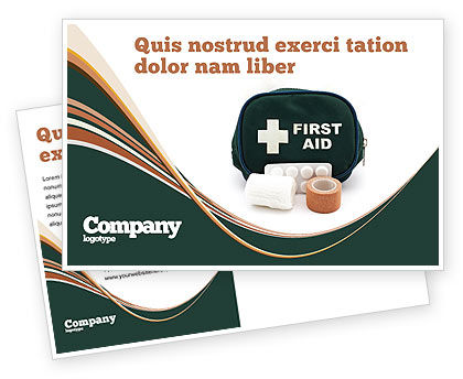 Medical: First Aid Set Postcard Template #03596