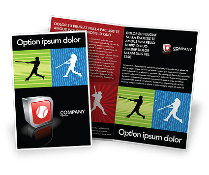 Sports: Honkbalknuppel Hit Brochure Template #03612