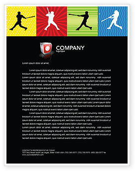 Sports: Baseball Bat Hit Letterhead Template #03612