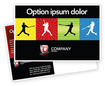 Baseball Bat Hit Postcard Template, 03612, Sports — PoweredTemplate.com