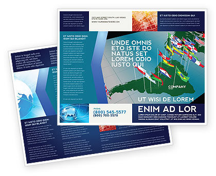 South and Central America Brochure Template, 03615, Flags/International — PoweredTemplate.com