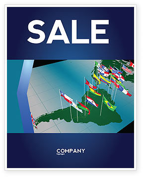 South and Central America Sale Poster Template, 03615, Flags/International — PoweredTemplate.com