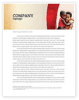 Refugees Letterhead Template, 03619, People — PoweredTemplate.com