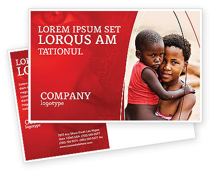 Refugees Postcard Template, 03619, People — PoweredTemplate.com