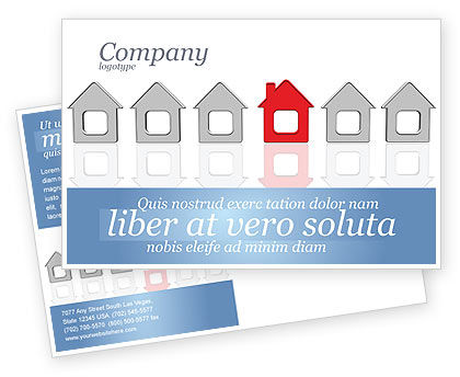 Construction: Typical House Of Suburban Icon Postcard Template #03620