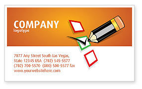 General: Questionnaire Business Card Template #03627