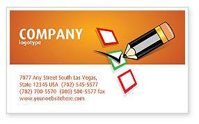 Questionnaire Business Card Template